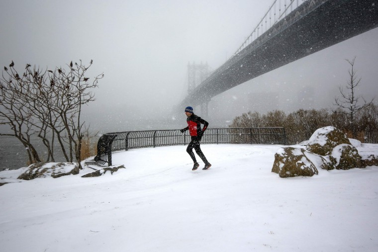 A man jogs in a park beneath the Manhattan Bridge during snow fall in the Brooklyn borough in New York, January 21, 2014. A fast-moving cold front will plunge the U.S. Midwest into a deep freeze on Tuesday and dump up to a foot (30 cm) of snow on parts of the East Coast, forecasters said. (REUTERS/Shannon Stapleton)