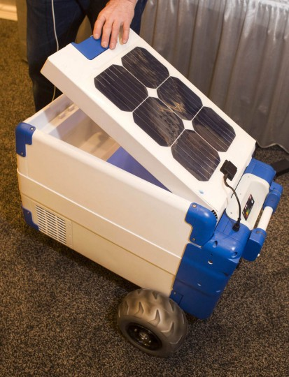 A Solar-Cooler, the world's first portable, solar-powered refrigerated cooler, is displayed during the 2014 International Consumer Electronics Show (CES) in Las Vegas, Nevada. The cooler retails for $1,200 and includes USB and 12 volt outlets. (Steve Marcus/Reuters photo)