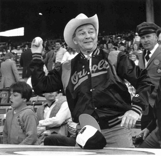 Roy Rogers practices throwing out the first ball before an Oriole game in May of 1983. (Paul Hutchins/Baltimore Sun)