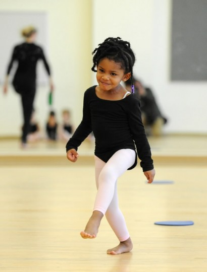 Logan Chambers, 3, of Reservoir Hill, skips across the studio floor during a beginner dance class for young children offered by Towson University Community Dance at the Center for the Arts studio on Saturday, Jan 11. (Photo by Brian Krista/BSMG)