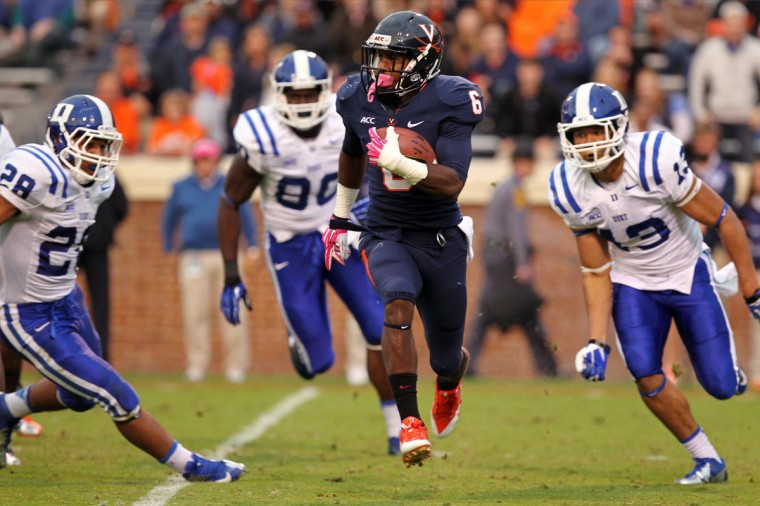 HONORABLE MENTION: Darius Jennings College: Virginia Position: Wide receiver Year: Junior High school: Gilman Hometown: Baltimore 2013 recap: Jennings was an occasional bright spot for the Cavaliers, who struggled through a 2-10 season. The former Greyhounds star was second in all-purpose yards for Virginia with 73.4 per game. He caught 38 passes for 340 yards and three touchdowns, in addition to returning 24 kicks for 522 yards. Photo credit: Geoff Burke/USA Today Sports