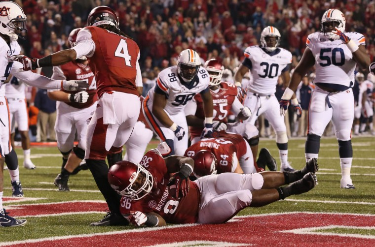 HONORABLE MENTION: Kiero Small College: Arkansas Position: Fullback Year: Senior High school: Cardinal Gibbons Hometown: Baltimore 2013 recap: Small rushed for 151 yards and three touchdowns on 40 carries (3.8 YPC). He powered an Arkansas rushing attack that averaged 5.3 yards per carry and 208.7 yards per game. The Razorbacks finished 3-9. Photo credit: Nelson Chenault/USA Today Sports