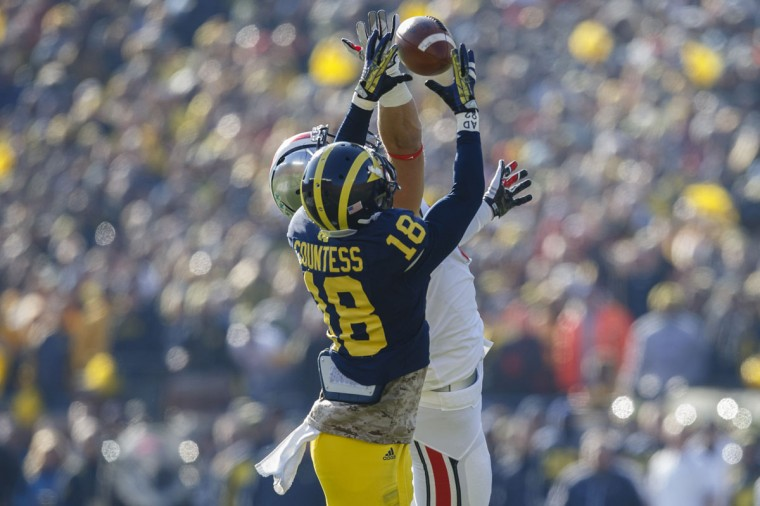 No. 5: Blake Countess College: Michigan Position: Cornerback Year: Sophomore High school: Good Counsel Hometown: Owings Mills 2013 recap: Countess led the Wolverines with six interceptions in 13 games, good for second in the Big Ten to Purdue's Ricardo Allen (who had six in 12 contests). For his efforts, Countess was selected to the All-Big Ten first team by the media, and was a second-team choice by the coaches. He also contributed 46 tackles (26 solo), four pass breakups, two tackles for loss and one quarterback hurry for the Wolverines (7-6), who fell to Kansas State, 31-14, in the Buffalo Wild Wings Bowl. Photo credit: Rick Osentoski/USA Today Sports