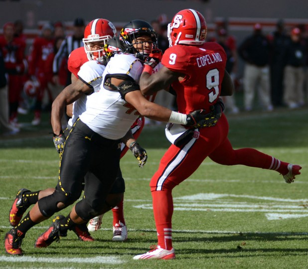 No. 8: Matt Robinson College: Maryland Position: Linebacker Year: Junior High school: Atholton Hometown: Columbia 2013 recap: Despite missing two games (vs. Virginia and Wake Forest), Robinson finished fourth on the Terps (7-6) in tackles (73 total) and third in tackles for loss (10). Robinson, who moved to linebacker from safety, was also credited with four pass breakups, four passes defended, two fumble recoveries, one forced fumble and half a sack. Photo credit: Rob Kinnan/USA Today Sports