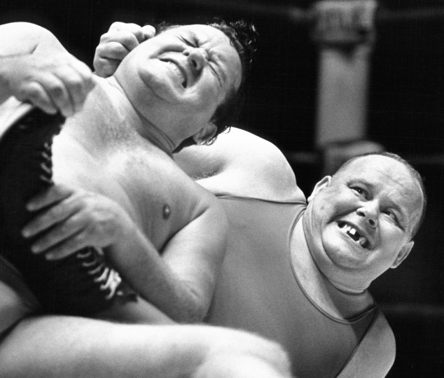 This combination of grimace and glee from a wrestling match at the Baltimore Civic Center on July 12, 1970 won photographer Paul Hutchins a first place for picture story in the Baltimore Press Photographers Association annual contest. (Paul Hutchins/Baltimore Sun)