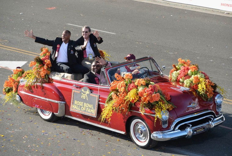Rose Bowl Hall of Fame inductees Lynn Swann, Lloyd H. Carr and Orlando Pace attend the 125th Tournament of Roses Parade Presented by Honda on January 1, 2014 in Pasadena, California. (Alberto E. Rodriguez/Getty Images)