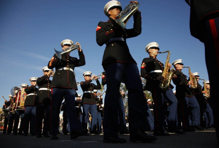 A U.S. Marine Corps band participates in the 125th Rose Parade. (Rick Loomis/Los Angeles Times)