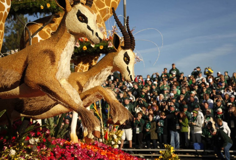 "The Western Asset Management Co. entry ""So close, yet Safari"" participates in the 125th Rose Parade in Pasadena, Calif. (Rick Loomis/Los Angeles Times)"