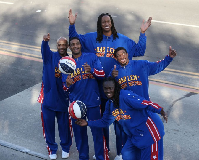 The Original Harlem Globetrotters on the parade route. (Frederick M. Brown/Getty Images)