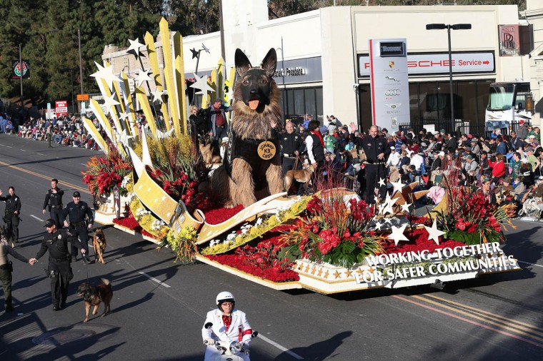 The K9s4Cops float on the parade route during the 125th Rose Parade. (Frederick M. Brown/Getty Images)