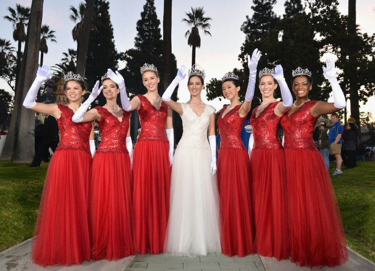 Shown left to right are Tournament of Roses Princess Jamie Kwong, Sarah Hansen, Katie Lipp, Queen Ana Acosta, Princess Elyssia Widjaja, Elizabeth Woolf and Kayla Johnson-Granberry. (Alberto E. Rodriguez/Getty Images)