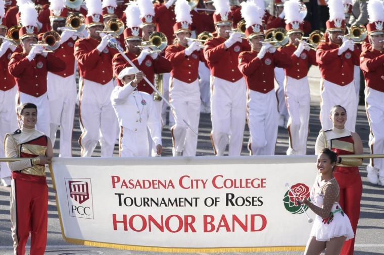 "The Pasadena City College Tournament of Roses Honor Band marches in the 125th Rose Parade in Pasadena, California January 1, 2014. The 2014 Rose Parade, themed ""Dreams Come True"", features florally decorated floats, marching bands, and equestrian units on a five and a half mile parade route through Pasadena. (Jonathan Alcorn/Reuters photo)"