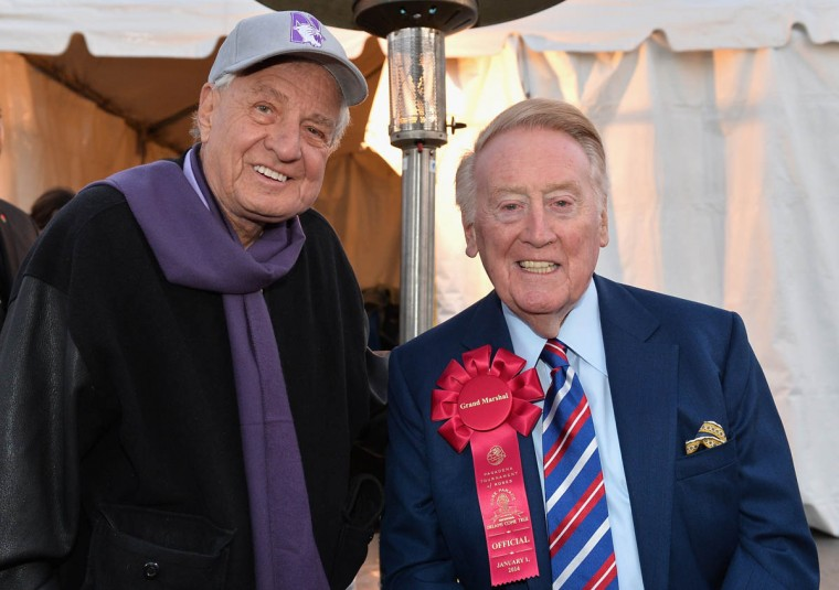 Producer Garry Marshall and Parade Grand Marshal Vin Scully attend the 125th Tournament of Roses Parade Presented by Honda. (Alberto E. Rodriguez/Getty Images)