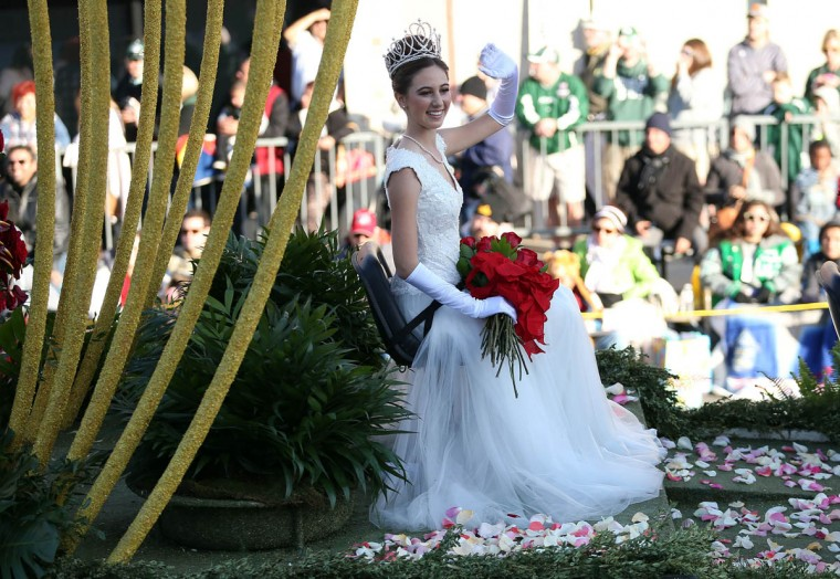 Rose Queen Ana Marie Acosta on the parade route during the 125th Rose Parade on January 1, 2014 in Pasadena, California. (Frederick M. Brown/Getty Images)