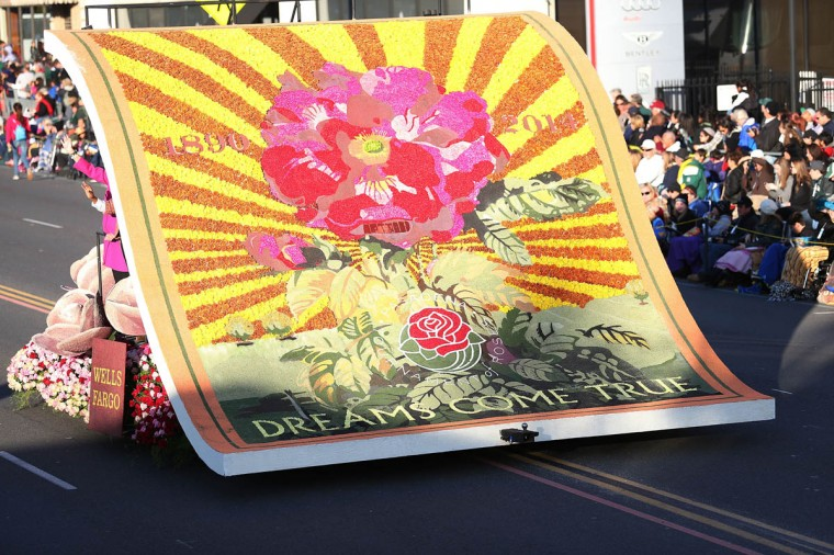 The Wells Fargo float on the parade route during the 125th Rose Parade. (Frederick M. Brown/Getty Images)