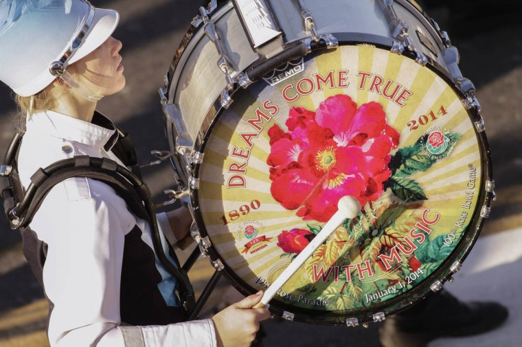 "A drummer in the Claudia Taylor ""Lady Bird"" Johnson High School band participates in the 125th Rose Parade. (Jonathan Alcorn/Reuters photo)"