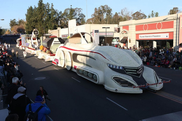 The Honda float on the parade route during the 125th Rose Parade. (Frederick M. Brown/Getty Images)