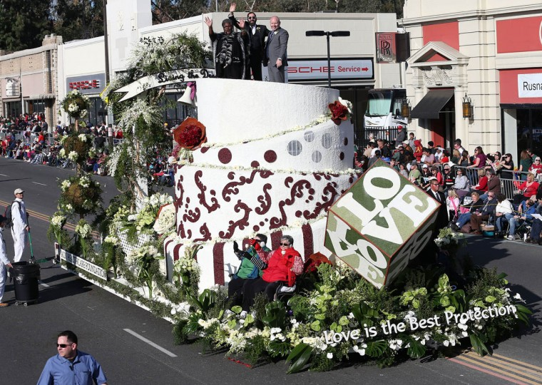 The Love float on the parade route. (Frederick M. Brown/Getty Images)