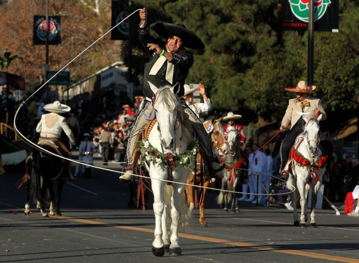 A rider with the Martinez Family performs during the 125th Rose Parade in Pasadena, Calif. (Rick Loomis/Los Angeles Times)