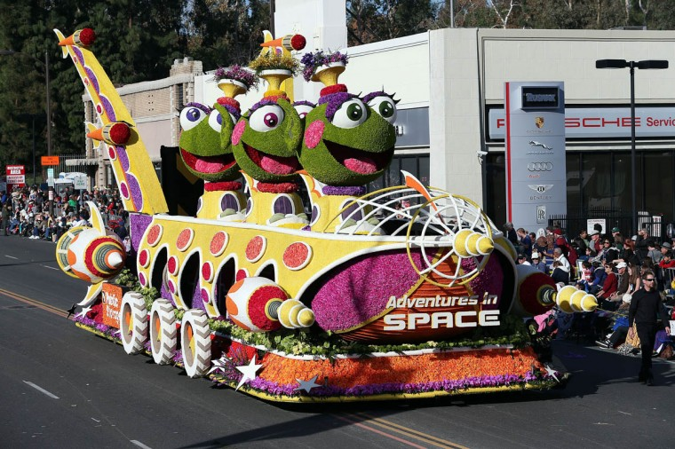 The Grand Marshal's Trophy float on the parade route during the 125th Rose Parade in Pasadena, California. (Frederick M. Brown/Getty Images)