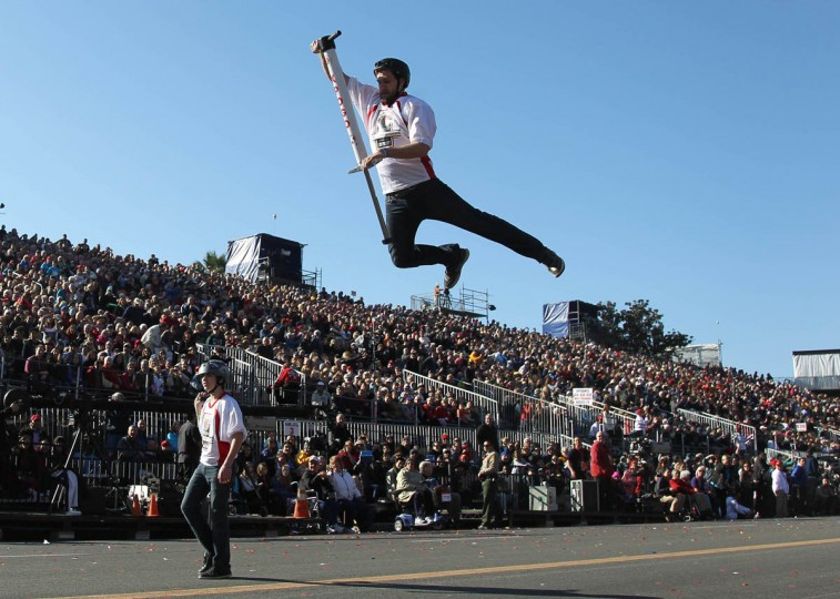 Performers with the Parade Closing Unit entertain the crowd during the 125th Rose Parade in Pasadena, Calif. (Rick Loomis/Los Angeles Times)