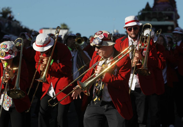 The Stanford Marching Band performs during the 125th Rose Parade in Pasadena, Calif. (Rick Loomis/Los Angeles Times)