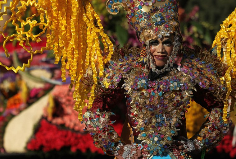 "A performer rides aboard the ""Wonderful Indonesia"" float during the 125th Rose Parade in Pasadena, Calif., on Jan. 1, 2014. (Rick Loomis/Los Angeles Times)"