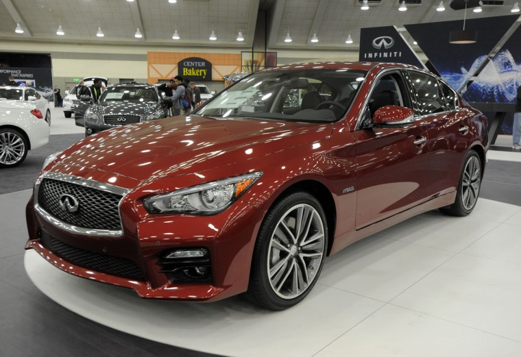 A 2014 Infinity Q50 Hybrid on display at 2014 Motor Trend International Auto Show at the Baltimore Convention Center. (Lloyd Fox/Baltimore Sun)