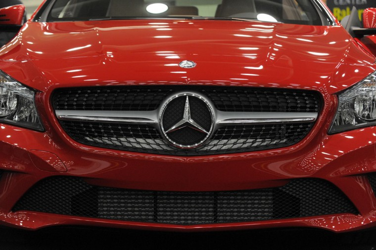 A 2014 Mercedes-Benz CLA250 on display at the 2014 Motor Trend International Auto Show at the Baltimore Convention Center. (Lloyd Fox/Baltimore Sun)