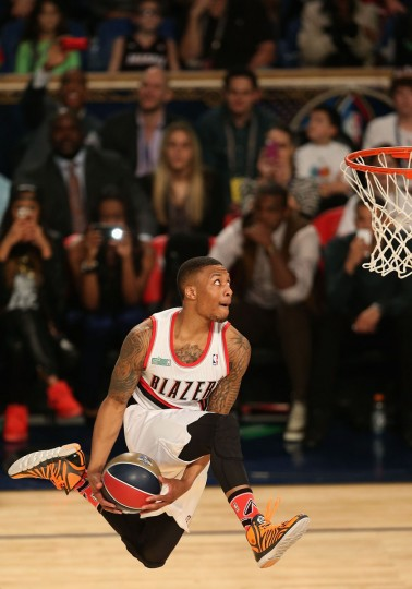 Western Conference All-Star Damian Lillard #0 of the Portland Trail Blazers slam dunks during the Sprite Slam Dunk Contest 2014 as part of the 2014 NBA All-Star Weekend at the Smoothie King Center on February 15, 2014 in New Orleans, Louisiana. (Christian Petersen/Getty Images)