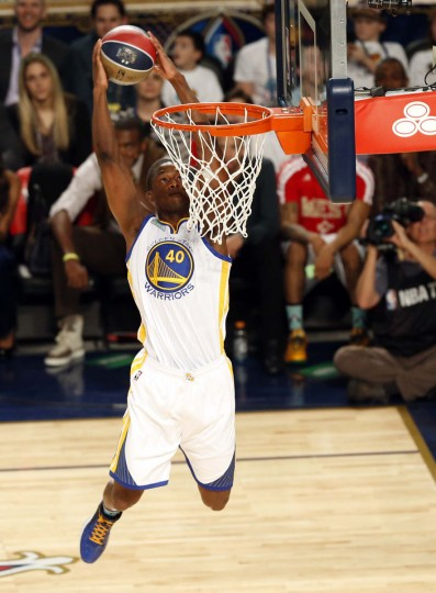 Golden State Warriors forward Harrison Barnes (4) dunks during the 2014 NBA All Star dunk contest at Smoothie King Center. (Derick E. Hingle/USA Today Sports)