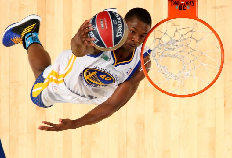 Western Conference All-Star Harrison Barnes of the Golden State Warriors dunks during the Sprite Slam Dunk Contest 2014 as part of the 2014 NBA All-Star Weekend at the Smoothie King Center on February 15, 2014 in New Orleans, Louisiana. (Ronald Martinez/USA Today Sports)