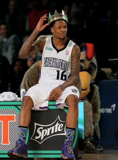 Western Conference All-Star Ben McLemore #16 of the Sacramento Kings wears his crown during the Sprite Slam Dunk Contest 2014 as part of the 2014 NBA All-Star Weekend at the Smoothie King Center on February 15, 2014 in New Orleans, Louisiana. (Ronald Martinez/USA Today Sports)