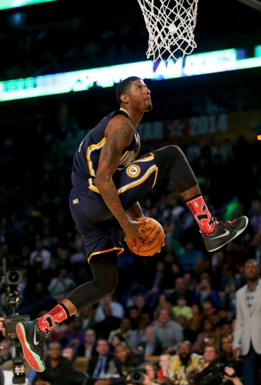 Eastern Conference All-Star Paul George #24 of the Indiana Pacers competes in the Sprite Slam Dunk Contest 2014 as part of the 2014 NBA All-Star Weekend at the Smoothie King Center on February 15, 2014 in New Orleans, Louisiana. (Ronald Martinez/Getty Images)