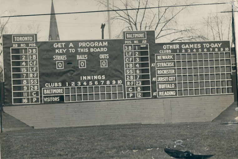 The scoreboard awaits the start of a baseball game between the Baltimore Orioles and Toronto at Oriole Park in Baltimore in 1923. (Baltimore Sun Archives)