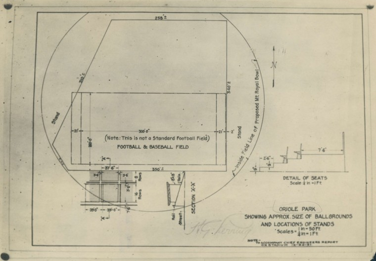 A diagram from 1921 shows some details about the construction of Oriole Park. (Baltimore Sun Archives)
