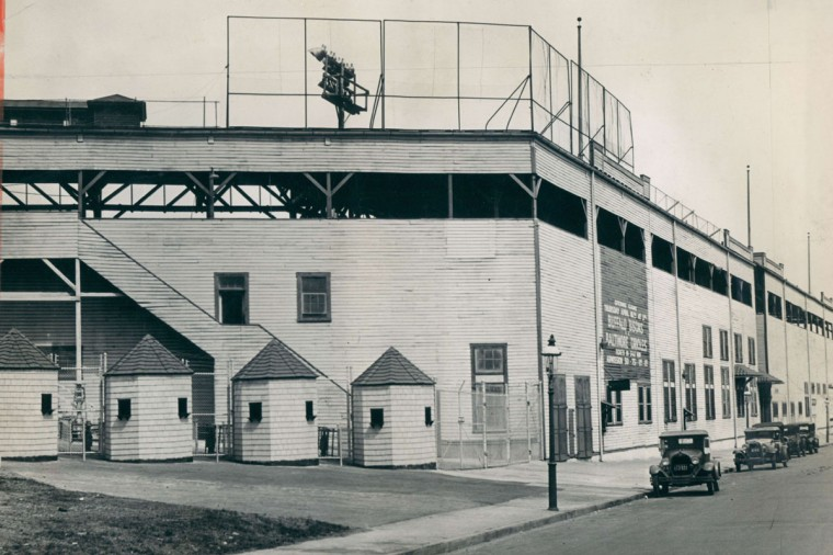 Oriole Park and Terrapin Park stood at 29th and Greenmount Avenue from until a six-alarm nighttime fire destroyed the wooden stands and buildings in 1944. More photos. (Baltimore Sun File/ APril 7, 1936)