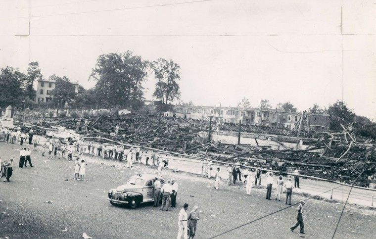 A panorama photo shows the ruins after the fire that destroyed Oriole Park, home of the Baltimore Orioles for over two decades, July 5, 1944. (Baltimore Sun Archives)