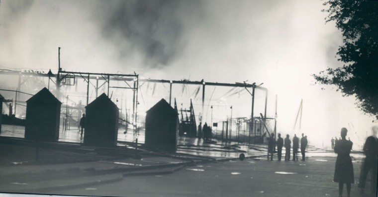 Ticket booths remain, but there was no business for them after an early morning fire burnt venerable Oriole Park to the ground. (Baltimore Sun Archives)