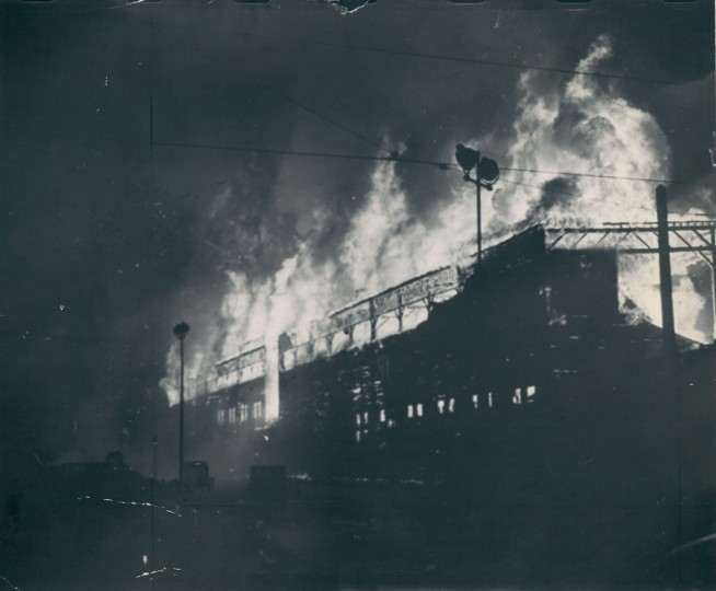 Fire destroys Oriole Park in Baltimore, July 4, 1944. Firemen could not save the team's archives or trophies. (Baltimore Sun Archives)