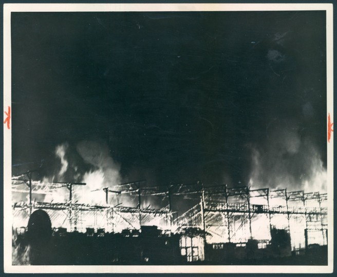 A fire destroys Oriole Park on July 4, 1944. The fire followed an 11-4 Orioles loss against Syracuse. (Baltimore Sun Archives)