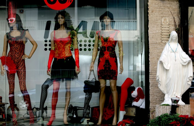 Valentine's lingerie is displayed at a shop in the Beirut Chirstian southern suburb of Ain al-Rummaneh on January 30, 2014, ahead of Valentines Day on February 14. || JOSEPH EID - AFP/Getty Images