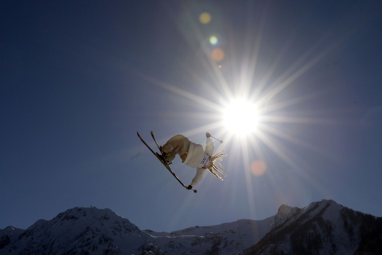 South Korea's Choi Jae-Woo trains during Freestyle Slopestyle practice at the Extreme Park in Rosa Khutor ahead of the Sochi 2014 Winter Olympics. (Franck Fife/Getty Images)