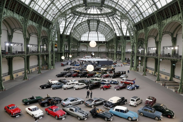 Cars are displayed at the Grand Palais in Paris on the eve of an auction of luxury vintage cars. vintage motor cars, collection motorbikes will be auctionned by British auction house Bonhams on February 6. (Francois Guillot/Getty Images)