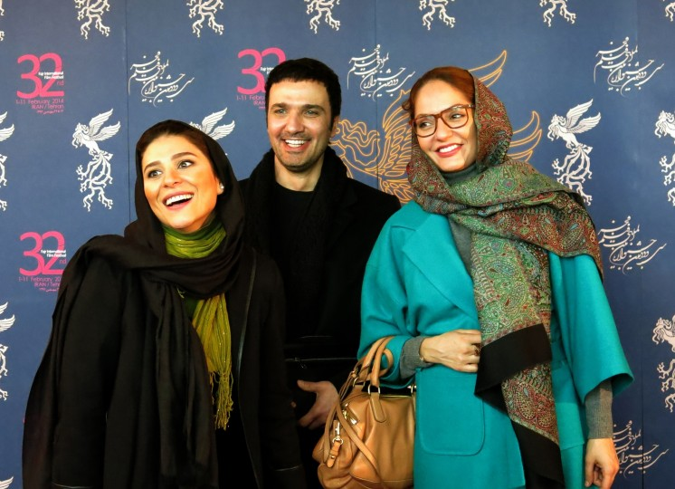 Iranian actors (L to R)  Sahar Dolatshahi, Mohammdreza Frotan and Mahnaze afshar arrive for a press conference as part of the 32nd Fajr International Film Festival on February 7, 2014 in the Iranian capital, Tehran. The festival runs until February 11. || ATTA KENARE - AFP/Getty Images