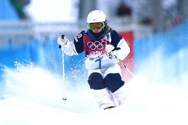 Eliza Outtrim of the United States competes in the Ladies' Moguls Qualification during the Sochi 2014 Winter Olympics at Rosa Khutor Extreme Park on February 6, 2014 in Sochi, Russia. (Photo by Cameron Spencer/Getty Images)