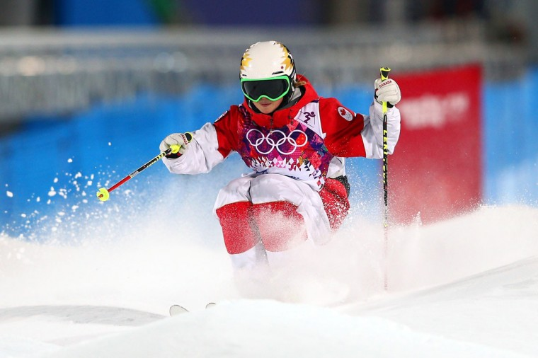 Chloe Dufour-Lapointe of Canada competes in the Ladies' Moguls Qualification during the Sochi 2014 Winter Olympics at Rosa Khutor Extreme Park. (Photo by Cameron Spencer/Getty Images)