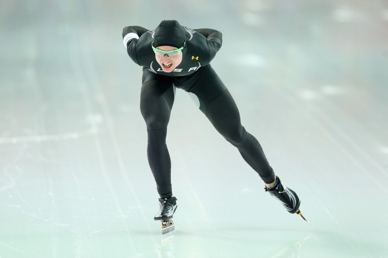 Jonathan Kuck of the United States competes during the Men's 5000m Speed Skating event during day 1 of the Sochi 2014 Winter Olympics at Adler Arena Skating Center on February 8, 2014 in Sochi, Russia. (Photo by Paul Gilham/Getty Images)