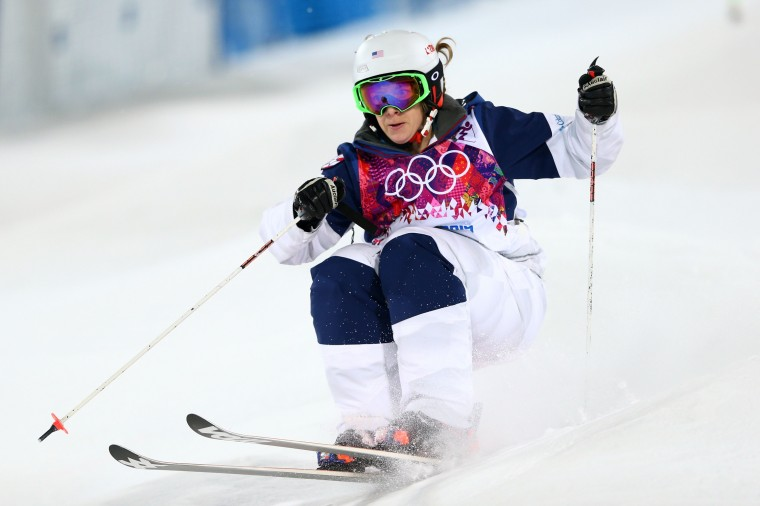 Hannah Kearney of the United States competes in the Ladies' Moguls Final 3 on day one of the Sochi 2014 Winter Olympics at Rosa Khutor Extreme Park on February 8, 2014 in Sochi, Russia. (Photo by Cameron Spencer/Getty Images)