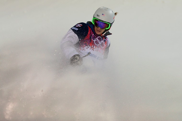 Hannah Kearney of the United States competes in the Ladies' Moguls Final 3 on day one of the Sochi 2014 Winter Olympics at Rosa Khutor Extreme Park on February 8, 2014 in Sochi, Russia. (Photo by Mike Ehrmann/Getty Images)